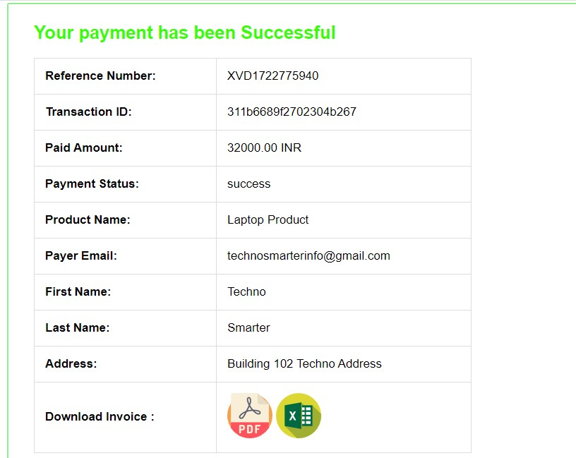 Payumoney payment gateway success page with PHP
