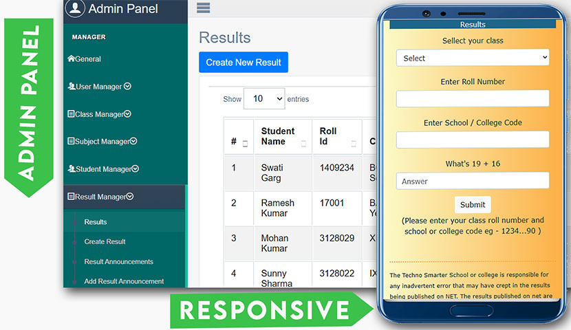 Student Result management system for school and college in PHP website