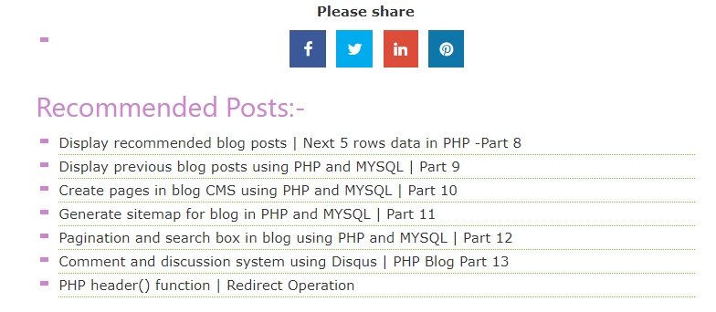 Fetch and display recommended posts in PHP | Fetch next data in PHP