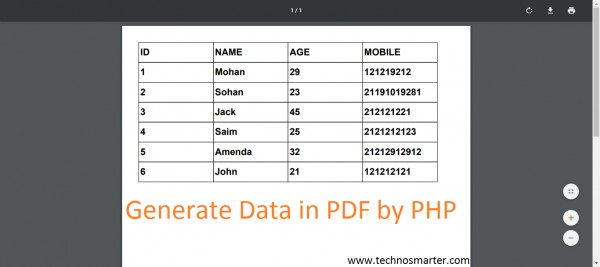 How to generate PDF in PHP with MYSQL database