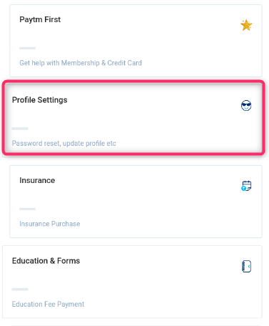 Paytm app profile settings