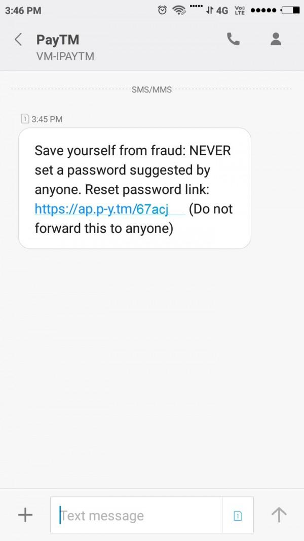 Paytm account password reset link