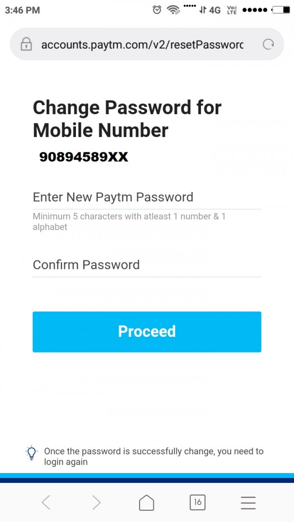 How to change forgot paytm account password ?