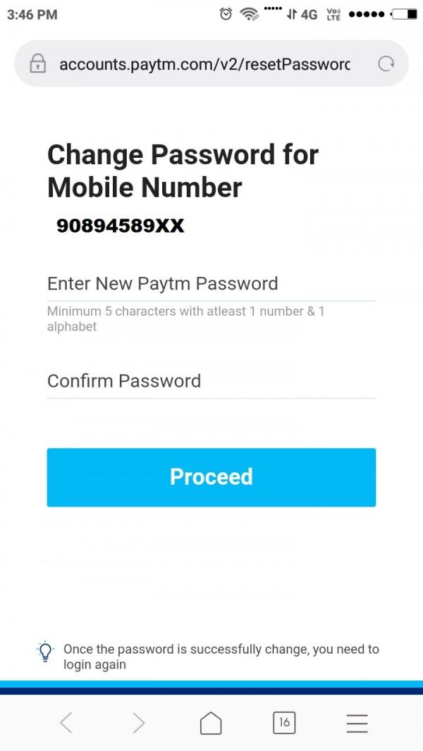 How to change forgot paytm account password ?