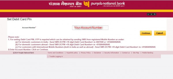 set PNB bank ATM green pin online