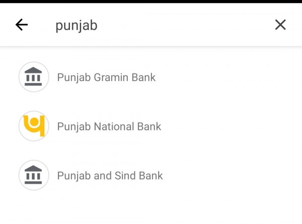 Punjab national bank is showing on Google pay
