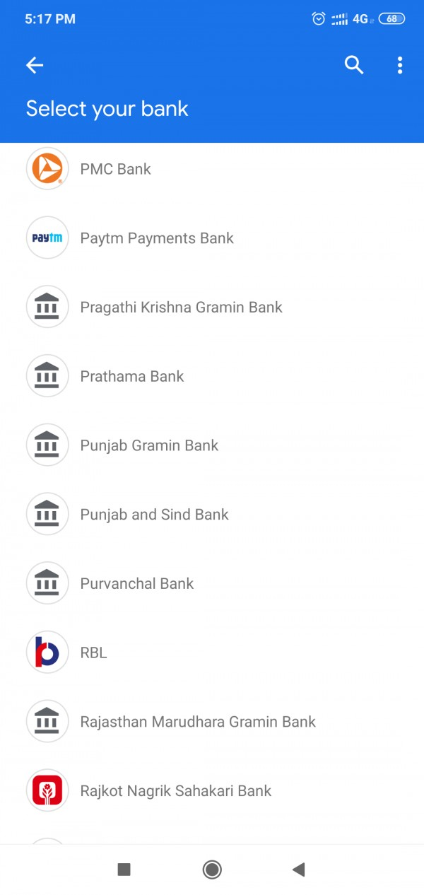 Google pay android app bank lists