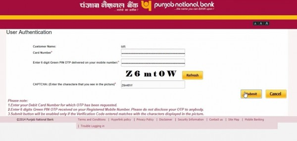 change pnb bank ATM card pin online