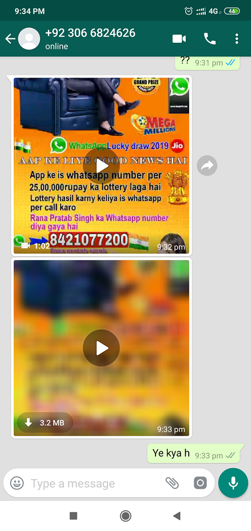 KBC fraud for 25 lakh lottery - whatsapp number