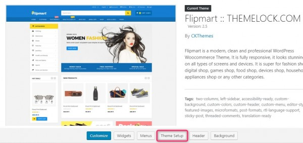 Flipmart theme setup