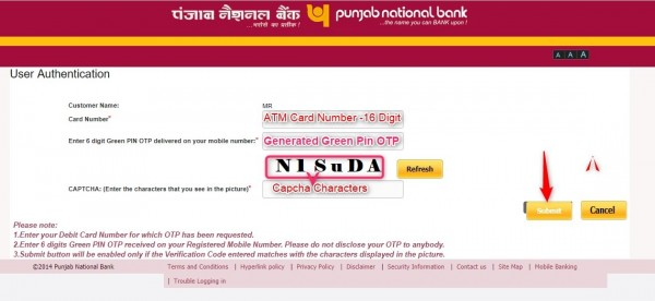 generate PNB bank ATM card pin by green pin
