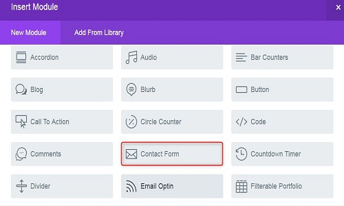 Divi theme contact form module