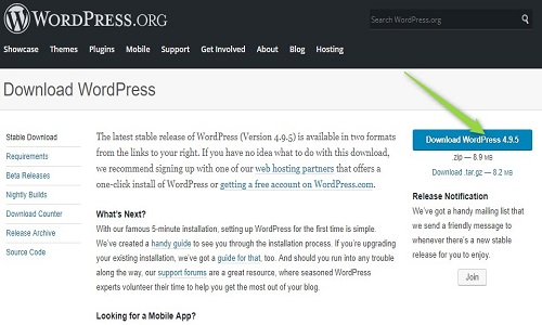 Wordpress ko download karke install karna