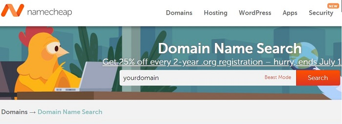 Find a domain for creating a wordpress blog website